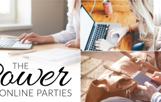 Women connecting together with a social media online party
